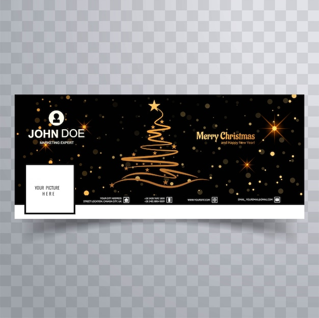 Merry christmas tree with facebook banner colorful template