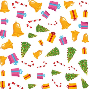 Merry christmas trees and bells pattern