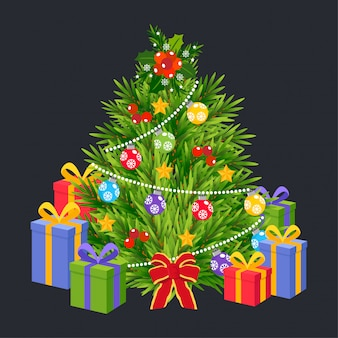 Merry christmas trees with gift boxes vector.