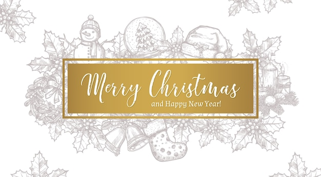 Merry christmas trendy greeting horizontal  card, poster or background with label and sketch xmas festive elements