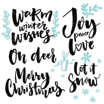 С рождеством христовым шрифтом и сезонными поздравлениями рукописные слова для поздравительных открыток, постеров, подарочных тегов