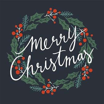 Счастливого рождества типографская на рождественский венок.