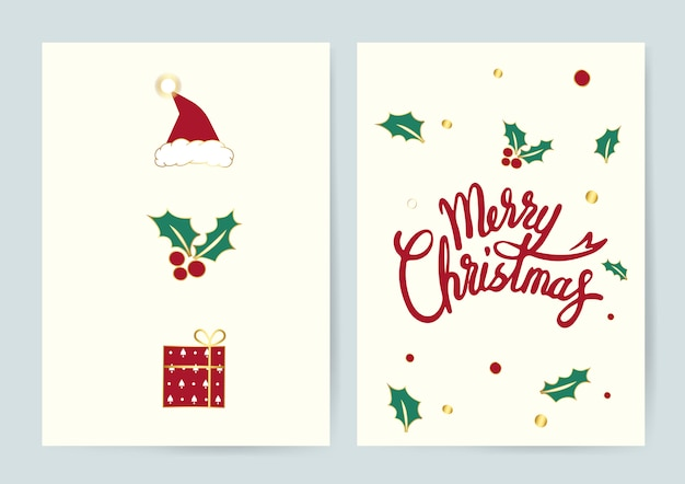 Merry christmas typography card vector