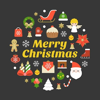 Merry christmas typography font and elements on black background