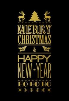 С рождеством христовым типографский плакат с елкой и оленями