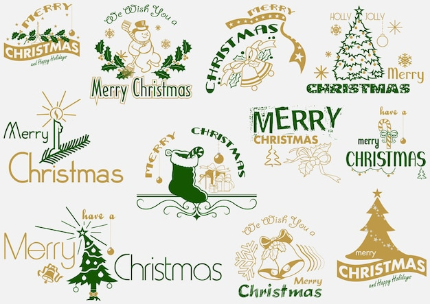 Merry christmas typography set as logo or emblems