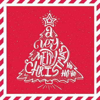 Merry Christmas typography. Vector card