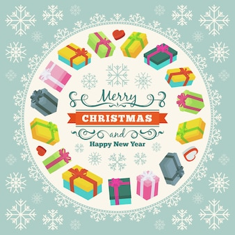 Merry christmas vector decorating design made of gift boxes and snowflakes
