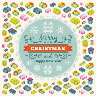 메리 크리스마스 벡터 장식 디자인 선물 상자와 눈송이 만든