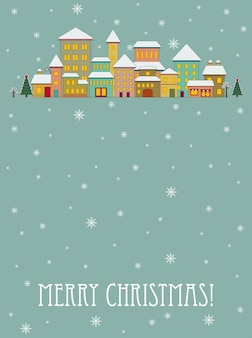 Merry christmas vector greeting card with cartoon houses