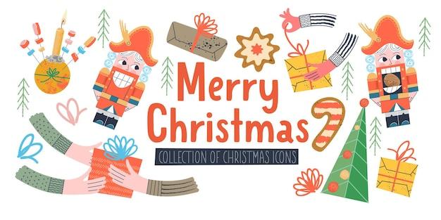 メリークリスマスベクトルイラストグリーティングカード休日の装飾要素のセット