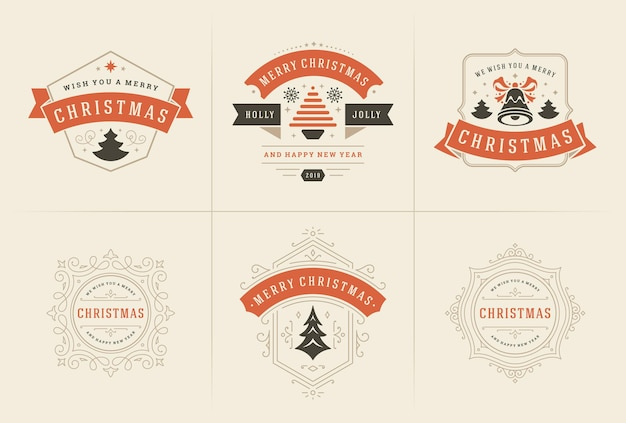 Merry christmas vector ornate labels and badges set happy new year and holidays wishes