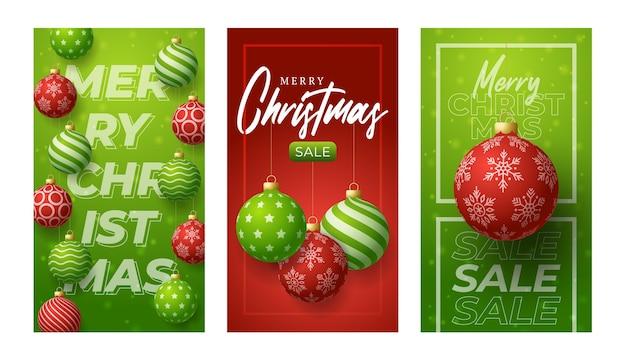 이야기에 대 한 메리 크리스마스 수직 배너입니다. 빨간색과 녹색 크리스마스 테마 소셜 미디어 이야기 게시물, 3d 현실적인 빨간색과 녹색 값싼 물건 공 배너 커버 프레임 템플릿 집합