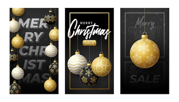 Merry christmas vertical banner for stories. golden set of christmas theme social media stories post, 3d realistic black and gold bauble ball banner cover frame template