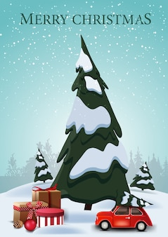 Merry christmas, vertical postcard with cartoon spruces