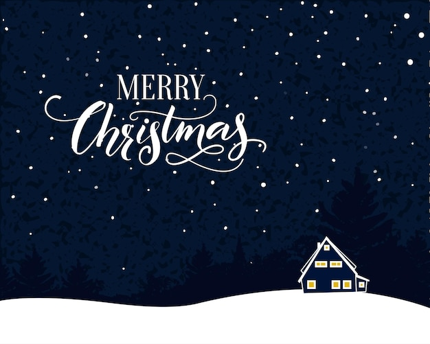 Merry christmas vintage card with calligraphy text. night scene with fallind snow and small house.