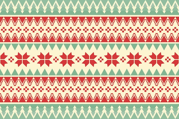 Merry christmas vintage ethnic seamless pattern decorated with green trees and red flowers. design for background, wallpaper, fabric, carpet, web banner, wrapping paper. embroidery style. vector.