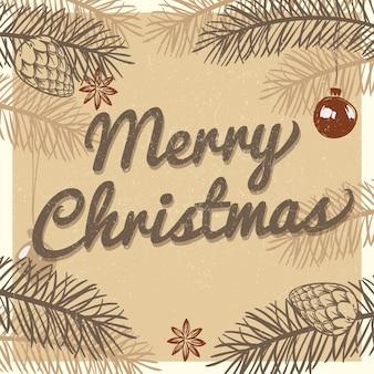 メリークリスマスヴィンテージグリーティングカード。手描きのモミの木の枝と松のイラストと冬の休日の背景