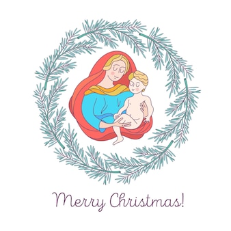 Merry christmas. the virgin mary and the baby jesus.