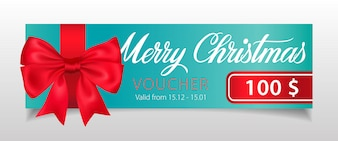 Merry Christmas, Voucher lettering with big ribbon bow