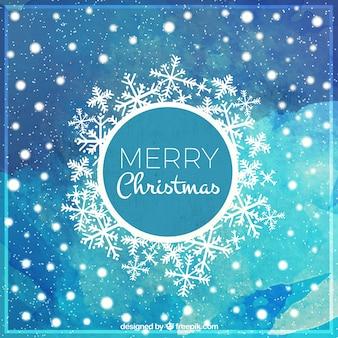 Cartolina acquerello di natale con fiocchi di neve