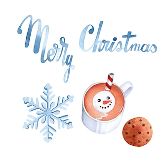 Merry christmas watercolor elements set  on white background