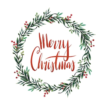 Merry christmas watercolor typography vector