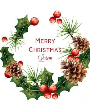 Merry christmas watercolor wreath
