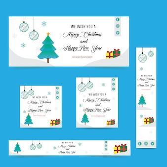 Merry christmas web ad banner