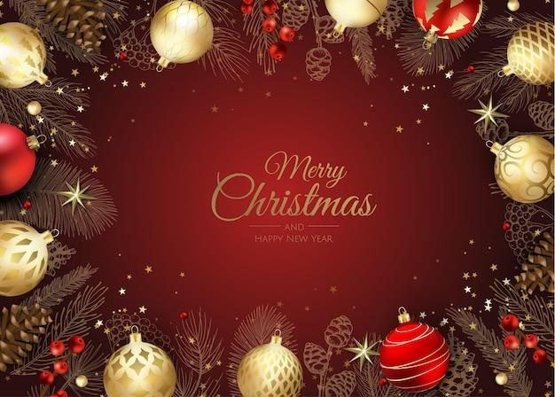 メリークリスマスのウェブバナー、金と赤のクリスマスボール。招待状や季節の挨拶の背景。