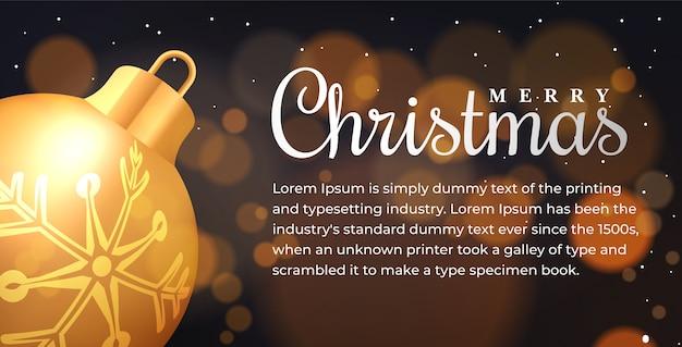 Счастливого рождества веб-баннер иллюстрация с праздничной надписью традиционные зимние элементы фона