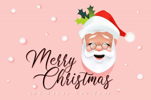 Merry christmas website banner template with funny santa claus