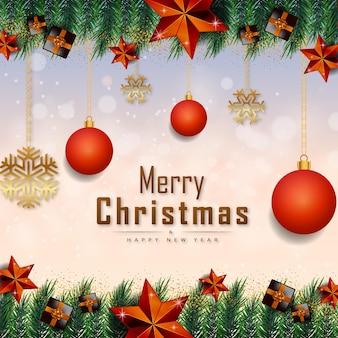 黄金の現実的な装飾要素ベクトルとメリークリスマスの白い背景バナー