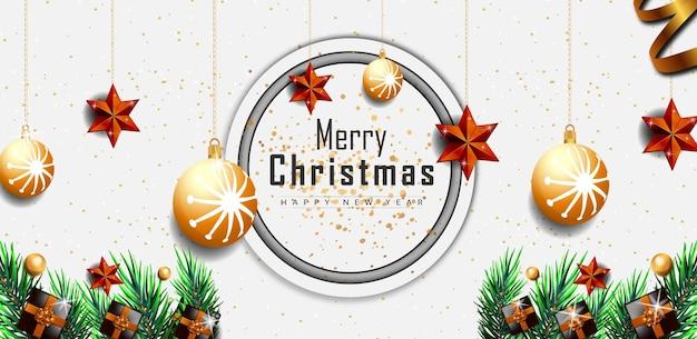Счастливого рождества белый фон баннер с золотыми реалистичными элементами декора вектор