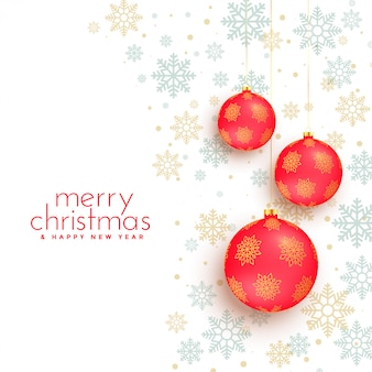 Merry christmas white background with red balls decoration
