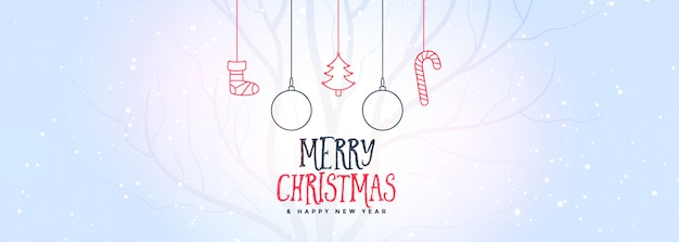 Merry christmas white banner with decorative elements