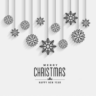 Merry christmas white card with hanging snowflakes design