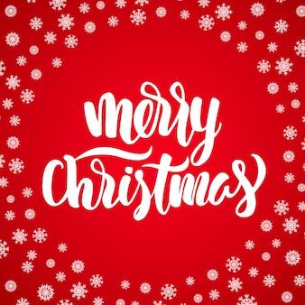 눈송이 빨간색 배경에 메리 크리스마스 화이트 우아한 현대 브러시 글자.