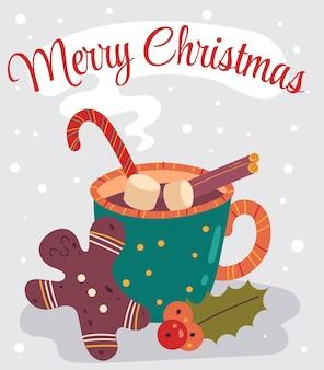С рождеством христовым зимний напиток с плоской мультяшной иллюстрацией пряничного человечка