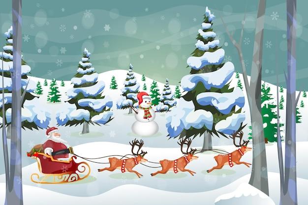 Merry christmas winter greeting card santa callus with snowman