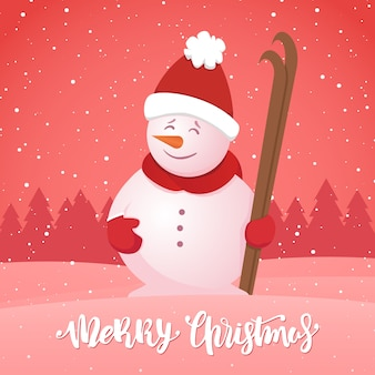메리 크리스마스. 눈 덮인 숲 배경에 스키와 눈사람 겨울 인사말 카드.