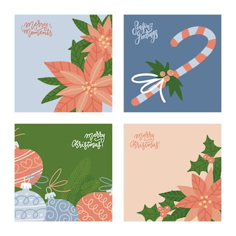 Merry christmas winter greeting cards set collection of square banners with holly poinsettia fir bra...