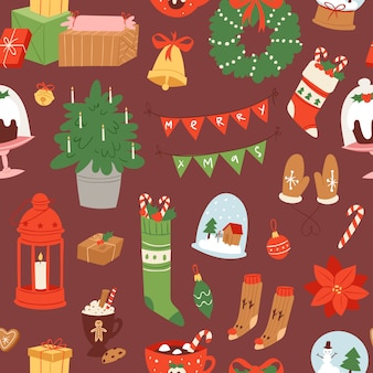 Merry christmas and winter holiday scandinavian objects cartoon seamless pattern.