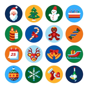 Merry christmas and winter holidays icons collection