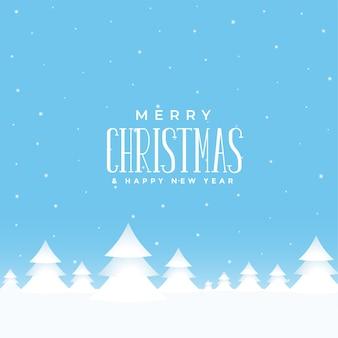 크리스마스 나무와 메리 크리스마스 겨울 풍경 배경