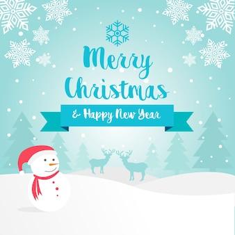 メリークリスマス冬の風景グリーティングカード