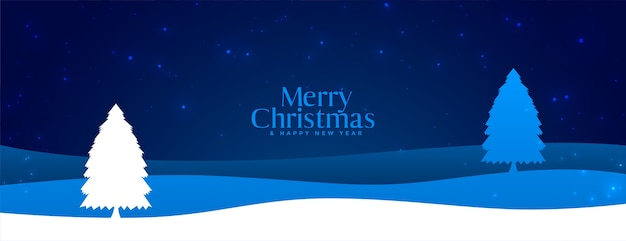 Merry christmas winter night landscape scene banner