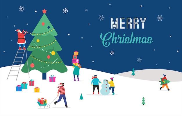Счастливого рождества, зимняя сцена с большой рождественской елкой и маленькими людьми, молодые мужчины и женщины, семьи, весело проводящие время в снегу, украшающие елку, катаются на лыжах, сноуборде, санях, на коньках