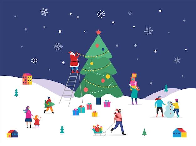 メリークリスマス、大きなクリスマスツリーと小さな人々、若い男性と女性、雪の中で楽しんでいる家族、木の装飾、スキー、スノーボード、そり、アイススケートの冬のシーン