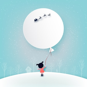 Merry christmas and winter season background.the girl and her balloon with santa claus in sleigh.
